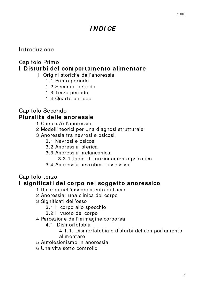 Indice della tesi: Psicoanalisi dell'anoressia: il corpo devastato, Pagina 1