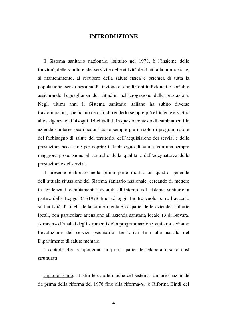 Anteprima della tesi: Analisi dell'attività di prima accoglienza del servizio psichiatrico territoriale dell'ASL 13 di Novara, Pagina 1
