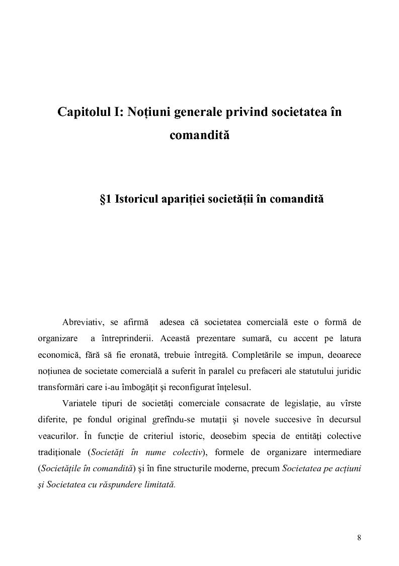 Anteprima della tesi: Probleme teoretice si practice privind constituirea si functionarea Societatii in Comandita, Pagina 6