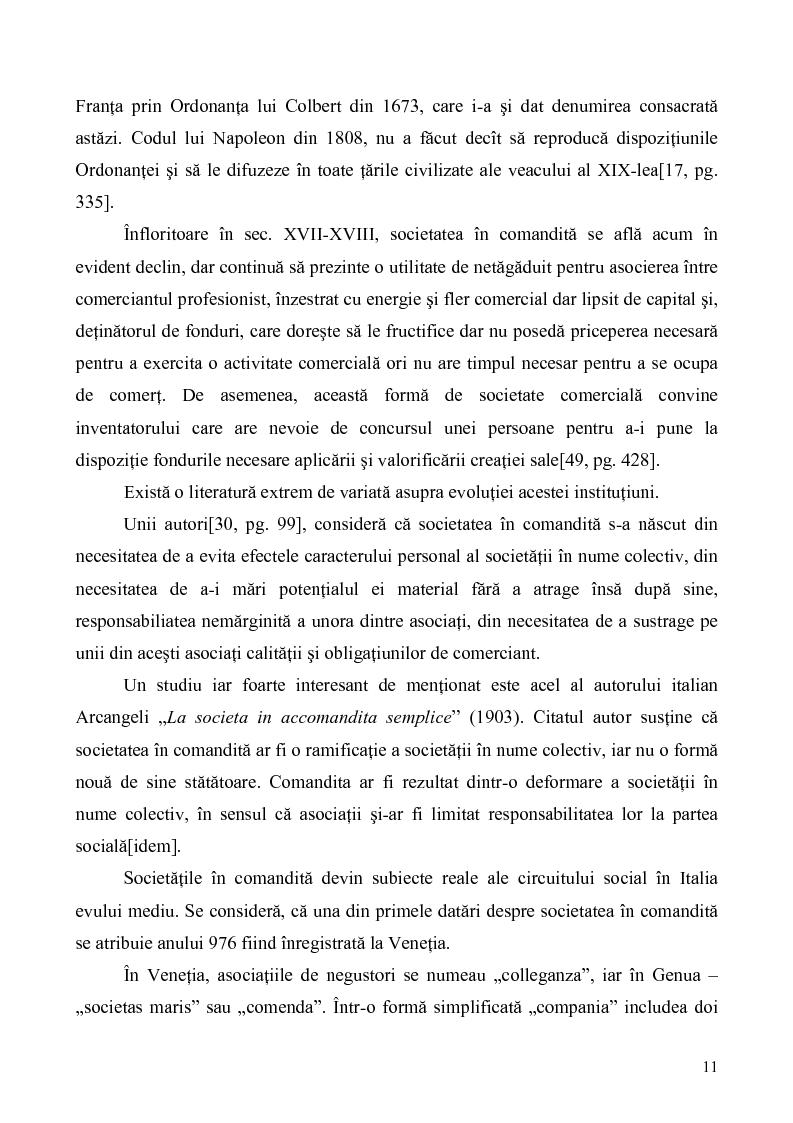 Anteprima della tesi: Probleme teoretice si practice privind constituirea si functionarea Societatii in Comandita, Pagina 9