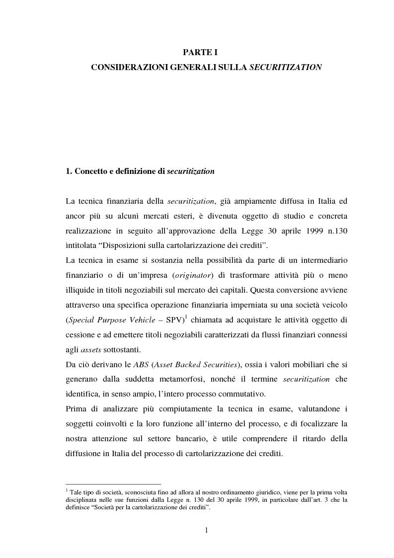 Anteprima della tesi: La securitization degli attivi bancari. Il caso della ''Pontormo Finance'', Pagina 1