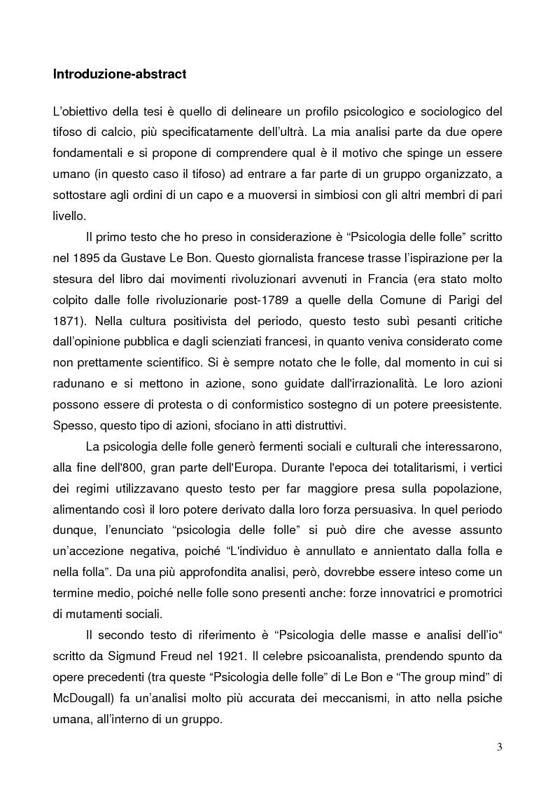 Anteprima della tesi: Il tifo calcistico come mobilitazione emozionale. Da Le Bon a Bauman, analisi del movimento ultrà e il caso limite del derby sospeso, Pagina 1