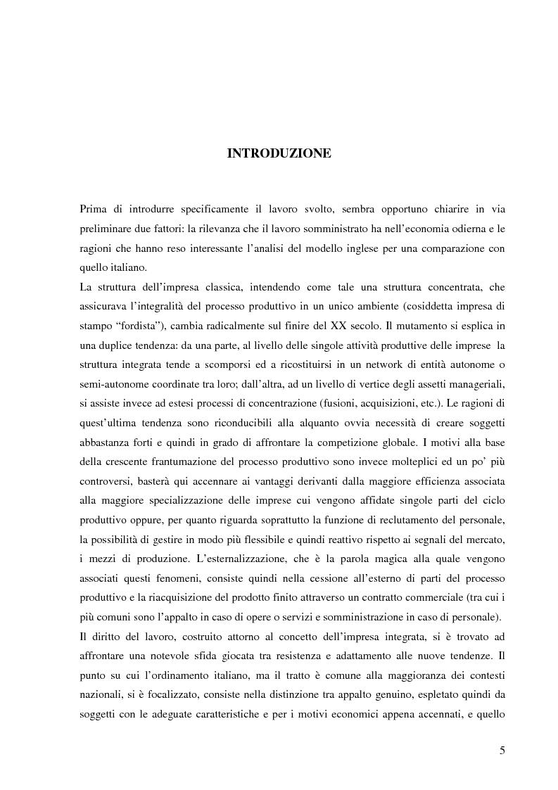 Anteprima della tesi: Il lavoro tramite agenzia in Italia e nel Regno Unito, Pagina 1
