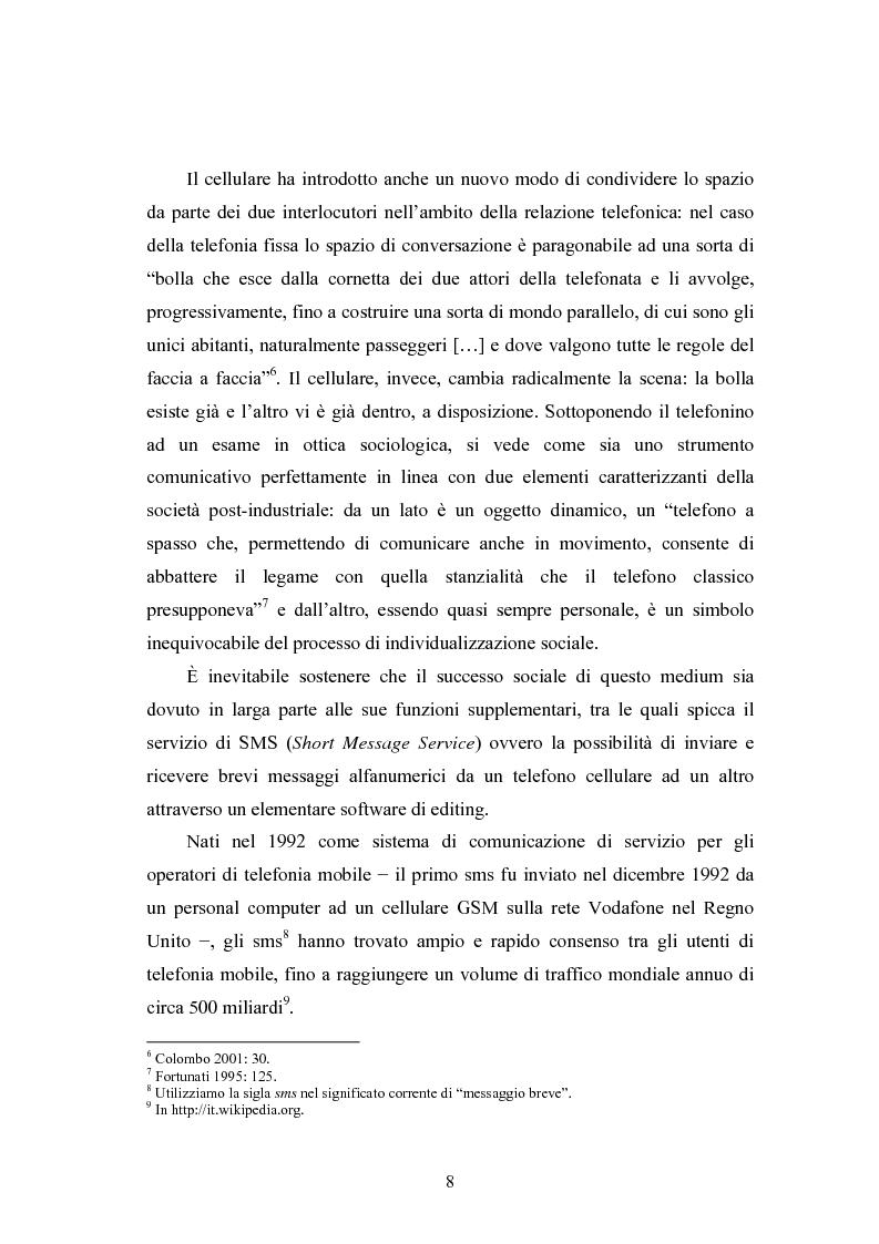Anteprima della tesi: La lingua degli SMS, al confine tra scritto e parlato, Pagina 4