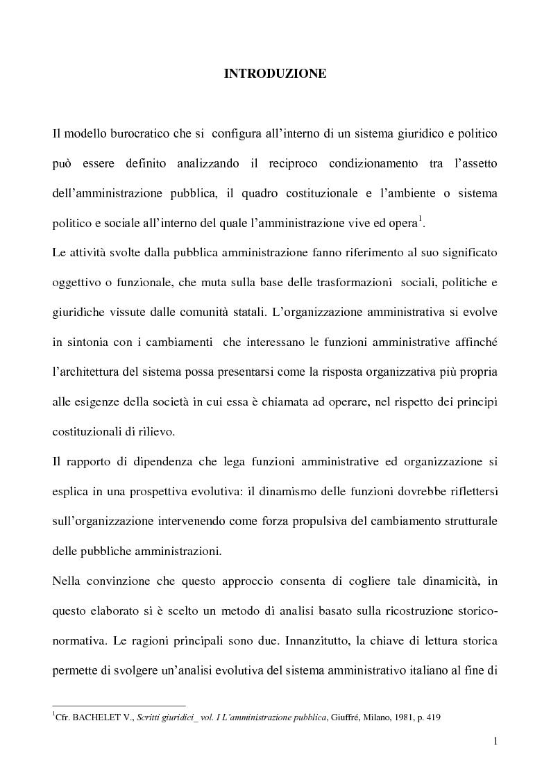 Anteprima della tesi: Comunicazione pubblica, politica e amministrazione nell'organizzazione ministeriale. Il Ministero del lavoro, Pagina 1