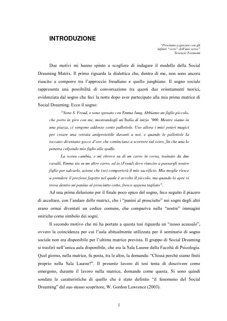 Anteprima della tesi: La Social Dreaming Matrix: un'indagine conoscitiva sulla funzione sociale del sogno, Pagina 1