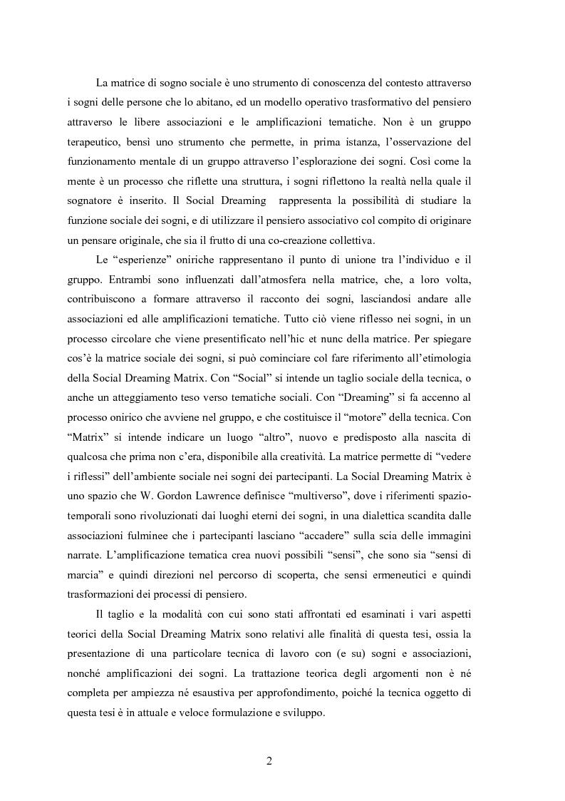 Anteprima della tesi: La Social Dreaming Matrix: un'indagine conoscitiva sulla funzione sociale del sogno, Pagina 2