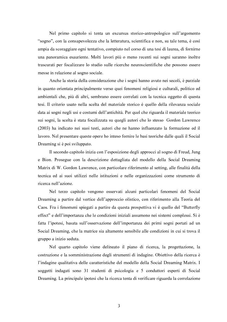 Anteprima della tesi: La Social Dreaming Matrix: un'indagine conoscitiva sulla funzione sociale del sogno, Pagina 3
