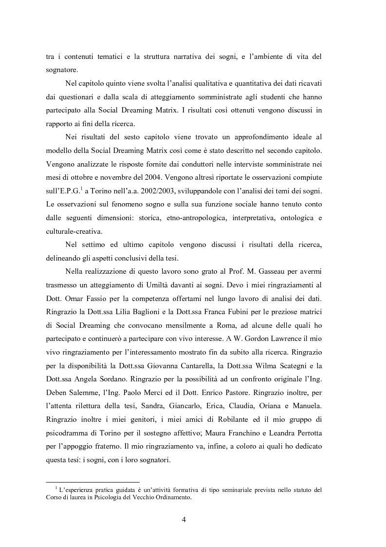 Anteprima della tesi: La Social Dreaming Matrix: un'indagine conoscitiva sulla funzione sociale del sogno, Pagina 4