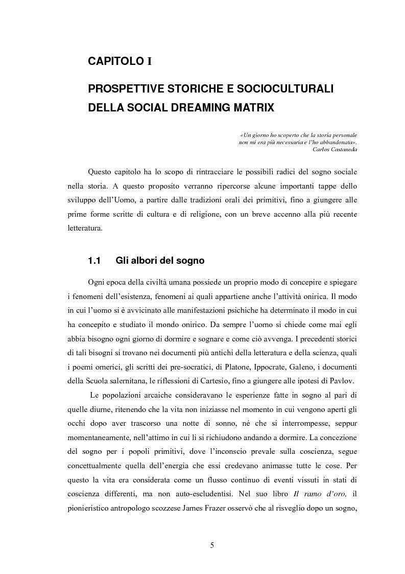 Anteprima della tesi: La Social Dreaming Matrix: un'indagine conoscitiva sulla funzione sociale del sogno, Pagina 5