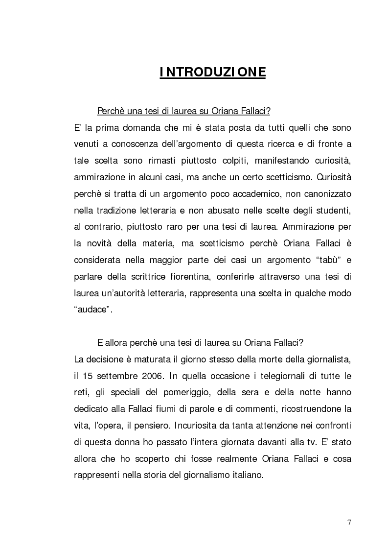 Oriana Fallaci, scrittore - Tesi di Laurea