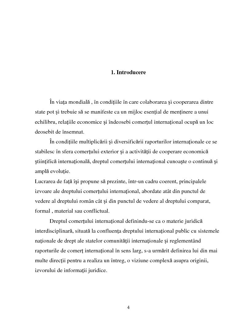 Anteprima della tesi: Izvoarele dreptului comertului international, Pagina 1