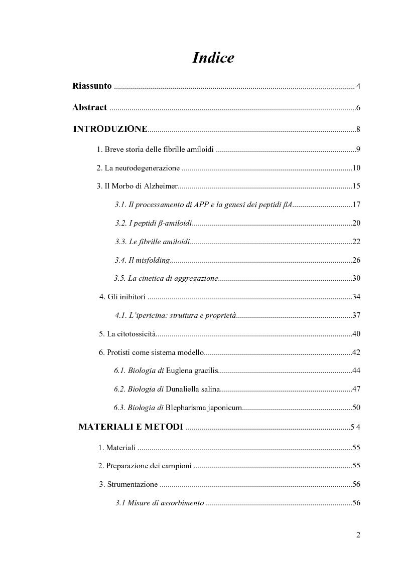 Indice della tesi: Studi di citossicità del peptide beta-amiloide (1-40), implicato nel morbo di Alzheimer, su protisti utilizzati come organismi modello, Pagina 1
