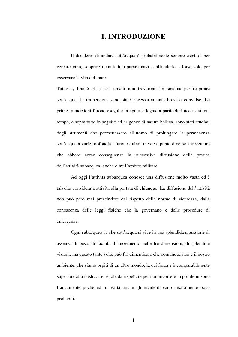 Anteprima della tesi: La sicurezza e la tutela della salute dell'operatore subacqueo professionale, Pagina 1