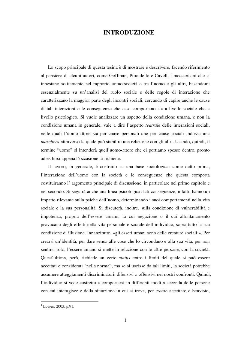Per una visione teatrale della condizione umana: ruoli, identificazioni e illusione - Tesi di Laurea
