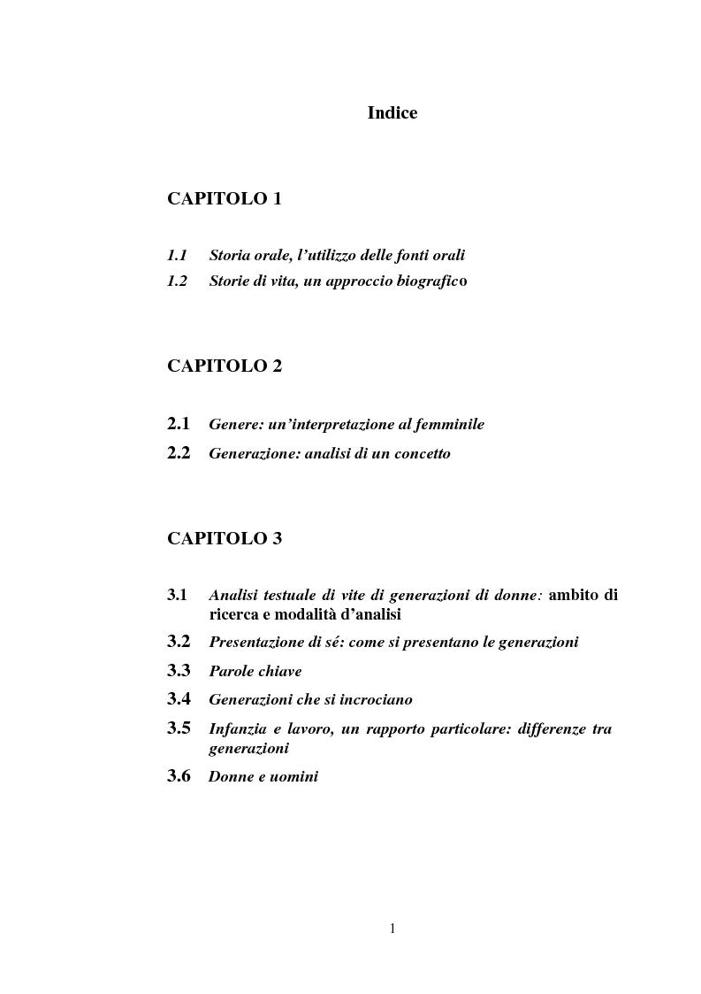 Indice della tesi: Tre generazioni di donne: storie di vita, famiglie, eventi storici, Pagina 1