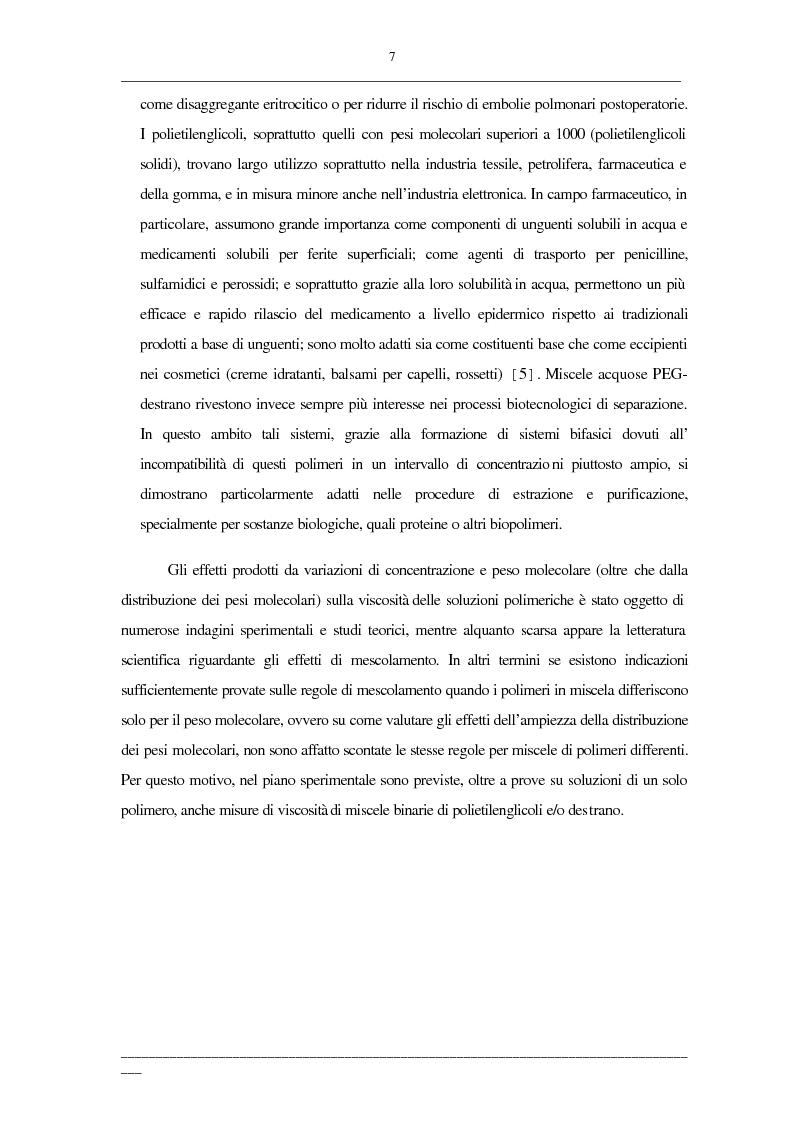 Anteprima della tesi: Viscosità di soluzioni acquose di polimeri: studio sperimentale di sistemi contenenti polietilenglicoli e/o destrani, Pagina 5