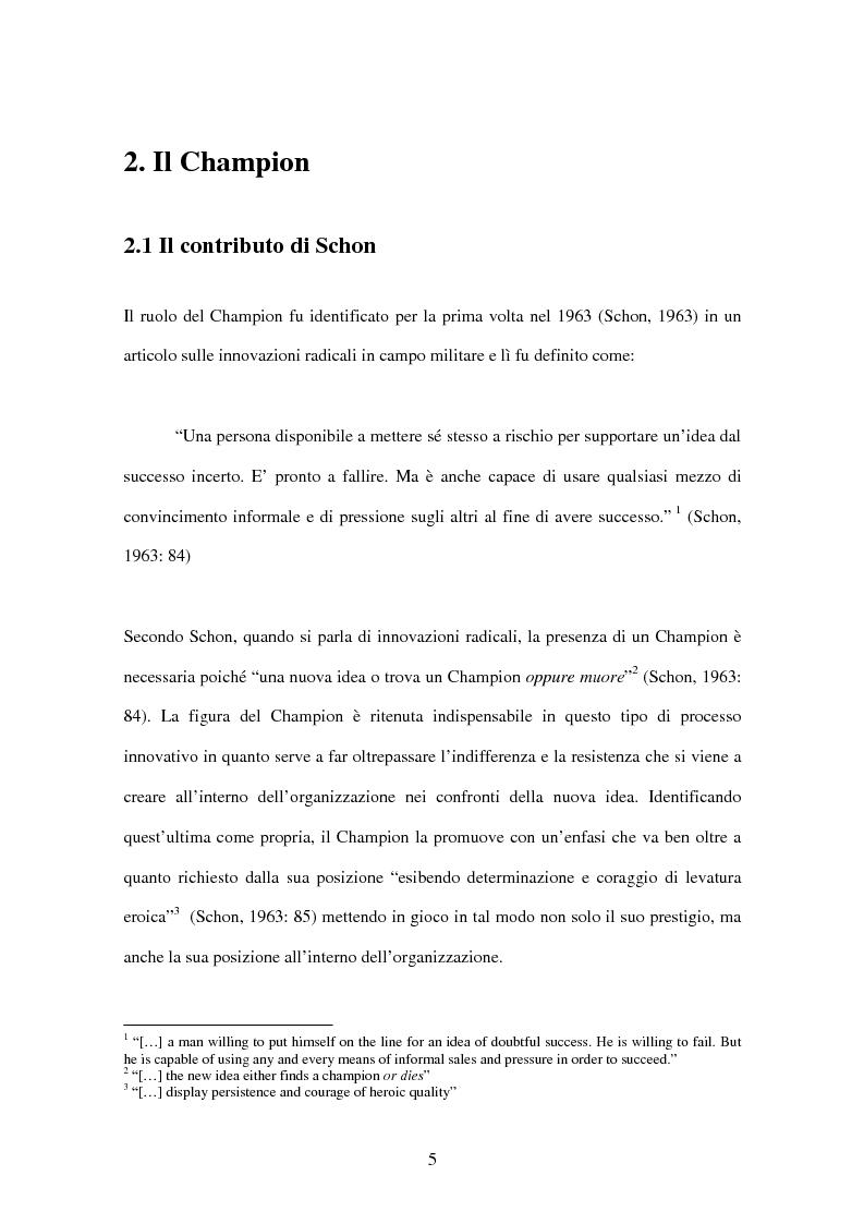 Anteprima della tesi: Requisiti per l'innovazione: il ruolo chiave del Champion, Pagina 3