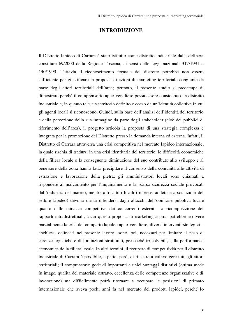 Il distretto lapideo di Carrara: una proposta di marketing territoriale - Tesi di Laurea