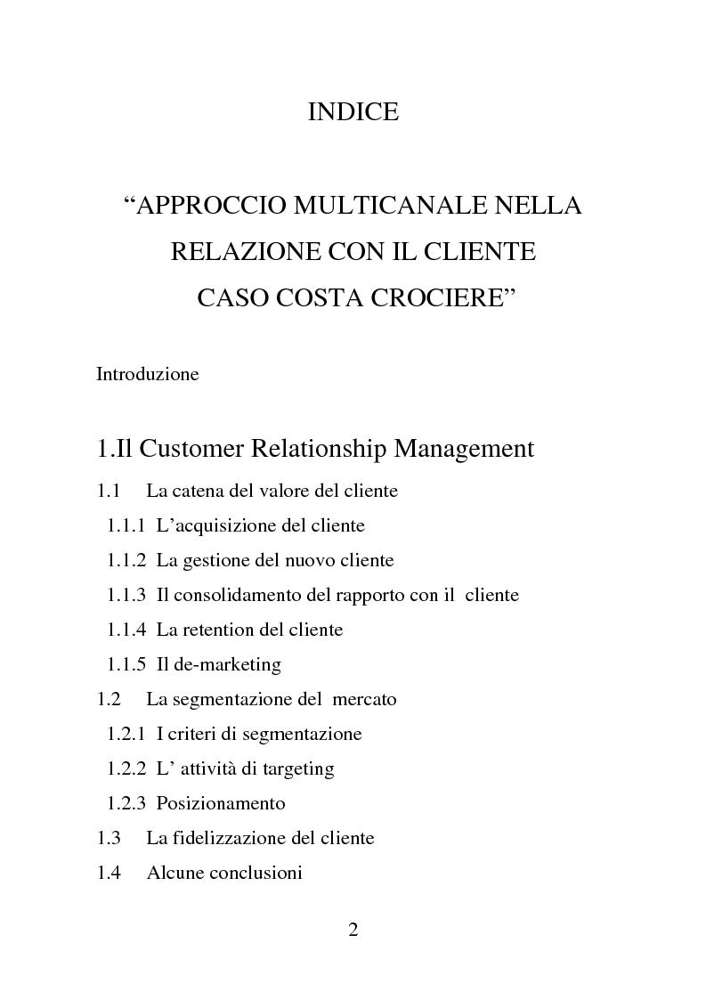 Indice della tesi: Approccio multicanale nella relazione con il cliente: caso Costa Crociere, Pagina 1