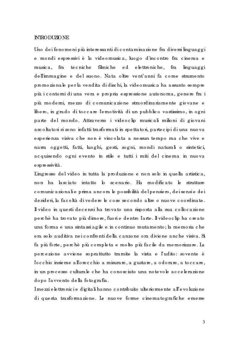 Anteprima della tesi: Il videoclip in televisione. Il lavoro di Sednaoui nella ricerca espressiva fra musica e immagine, Pagina 1