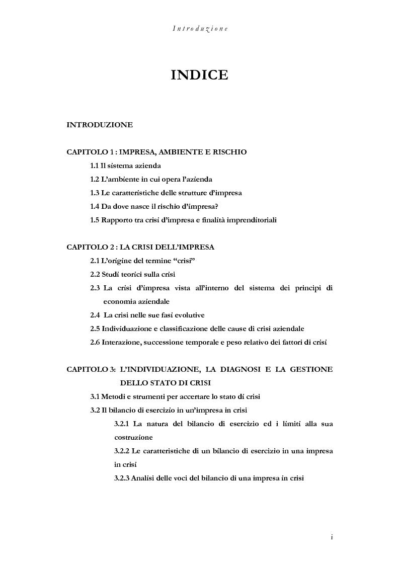 Indice della tesi: La crisi dell'impresa, dalla manifestazione alle strategie di superamento, Pagina 1