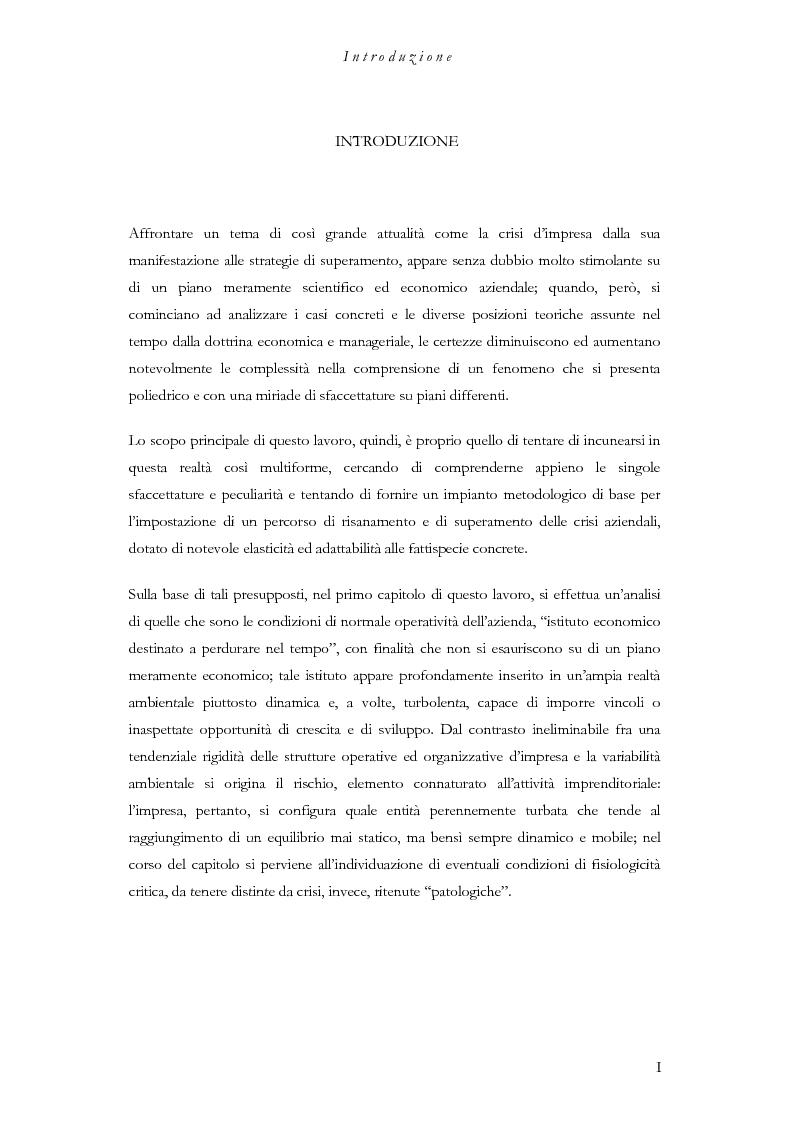 Anteprima della tesi: La crisi dell'impresa, dalla manifestazione alle strategie di superamento, Pagina 1