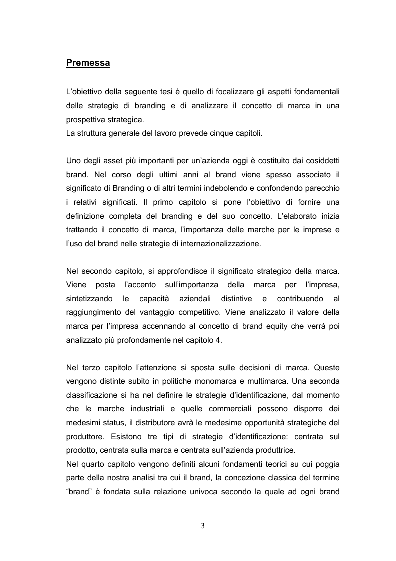 Anteprima della tesi: Strategie di Branding - La creazione del nuovo Brand Portfolio - Il caso Bormioli, Pagina 1