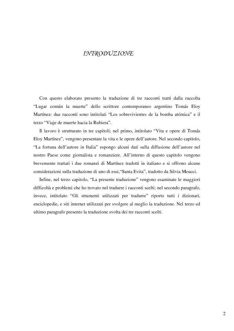 Anteprima della tesi: Lugar comun la muerte: traduzione di alcuni racconti di Tomas Eloy Martinez, Pagina 1