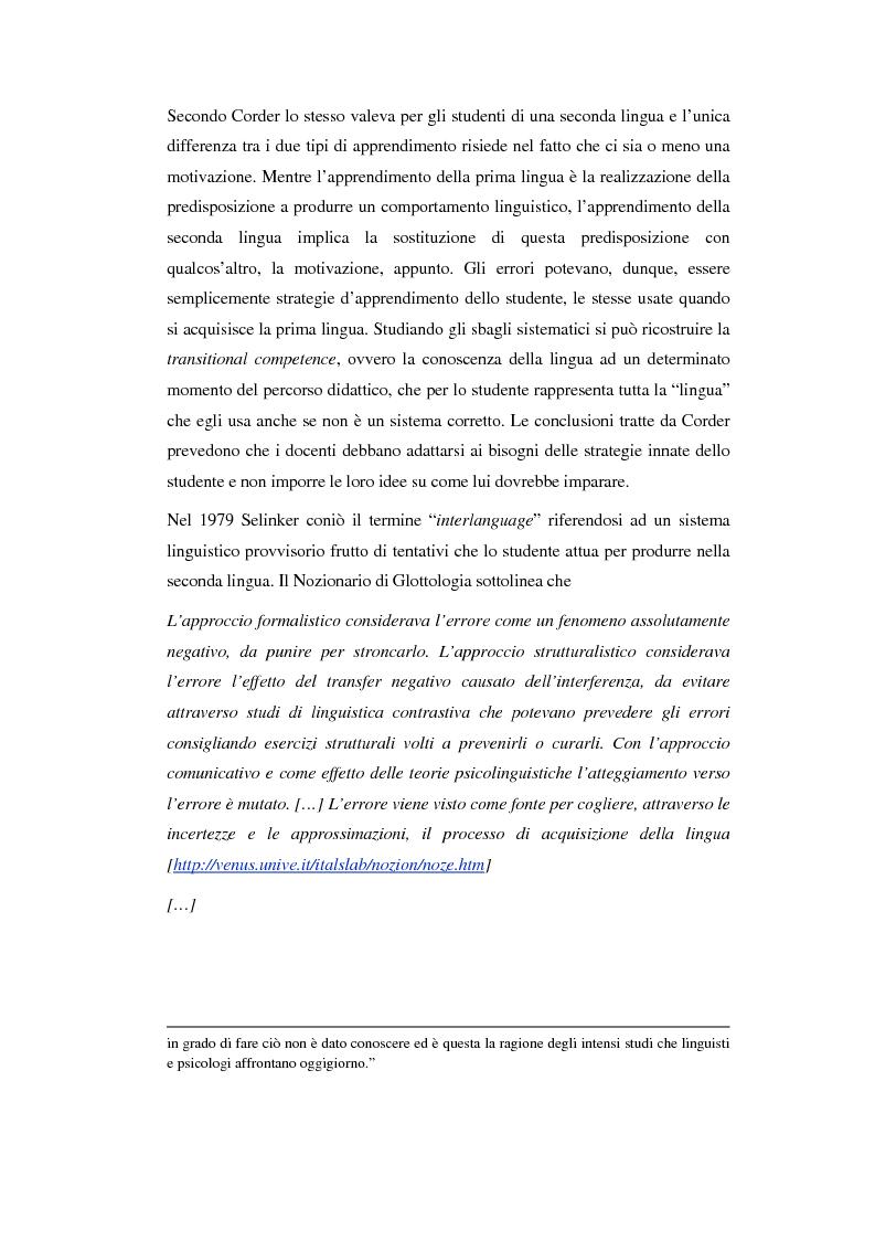 Anteprima della tesi: La correzione degli errori nell'insegnamento dell'italiano ad arabofoni: da uno studio di caso ad una proposta didattica, Pagina 5