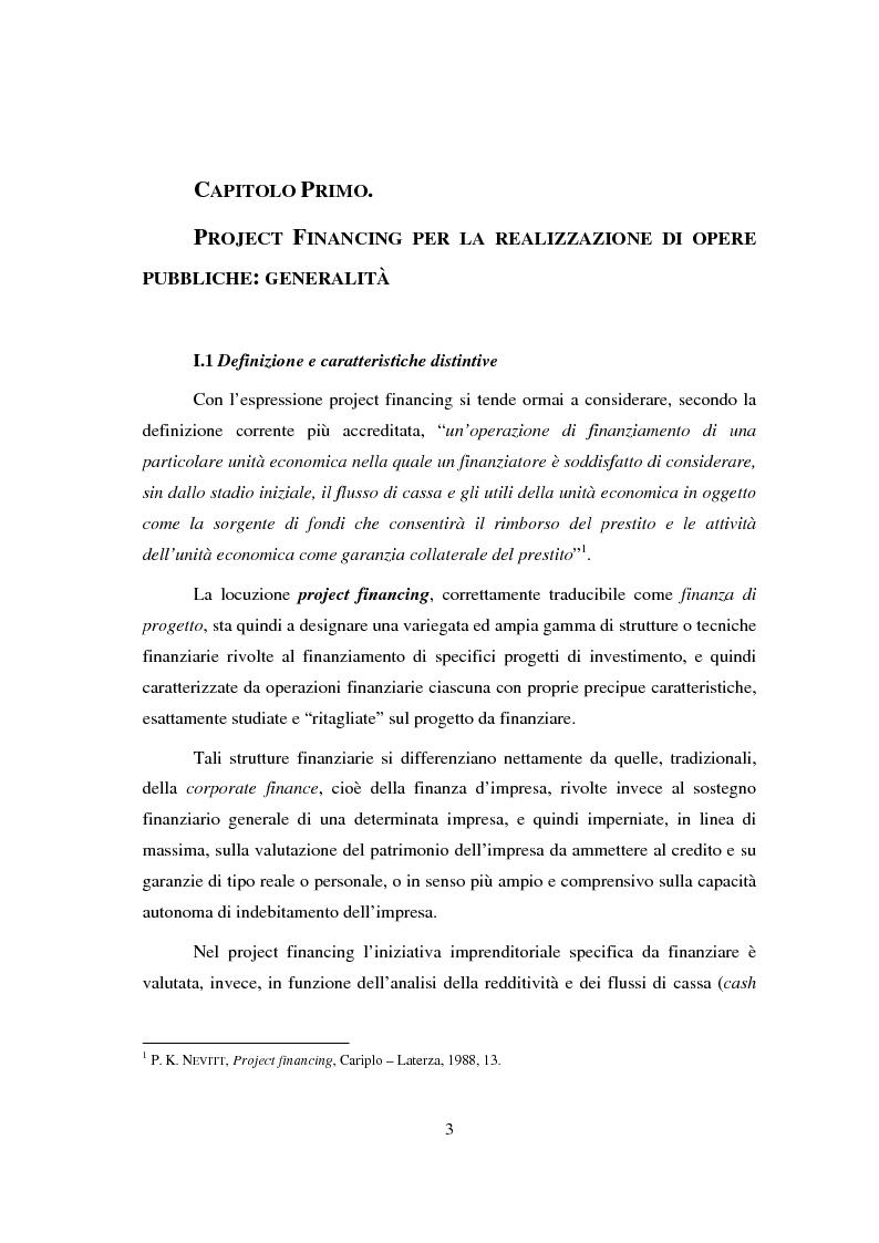 Anteprima della tesi: Project financing, Pagina 1