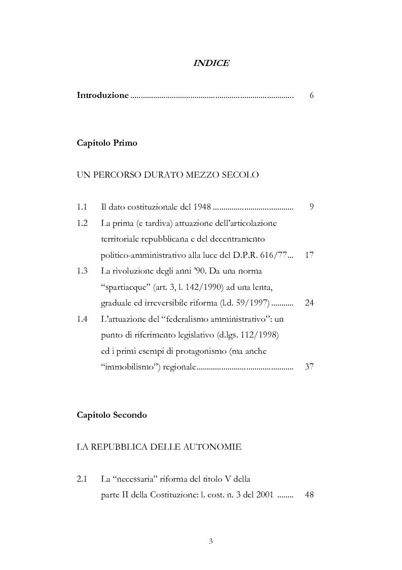Indice della tesi: L'associazionismo comunale tra costituzione, evoluzione legislativa e buone prassi, Pagina 1