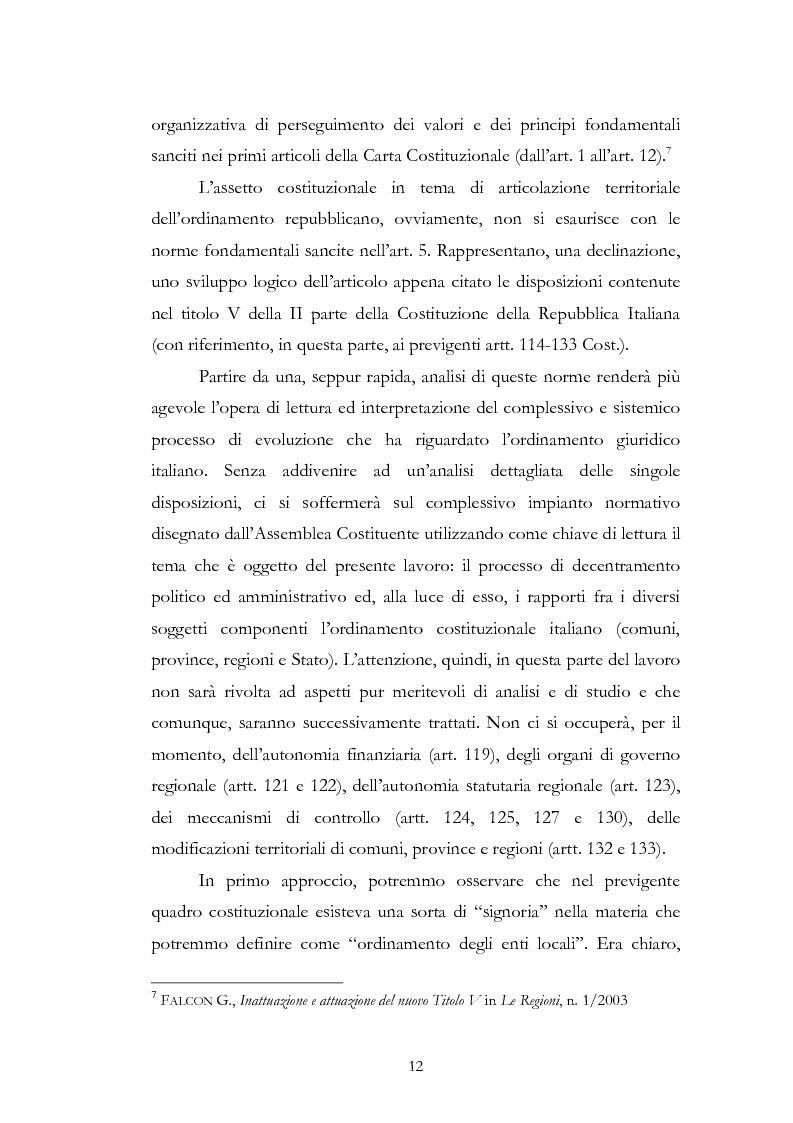 Anteprima della tesi: L'associazionismo comunale tra costituzione, evoluzione legislativa e buone prassi, Pagina 7