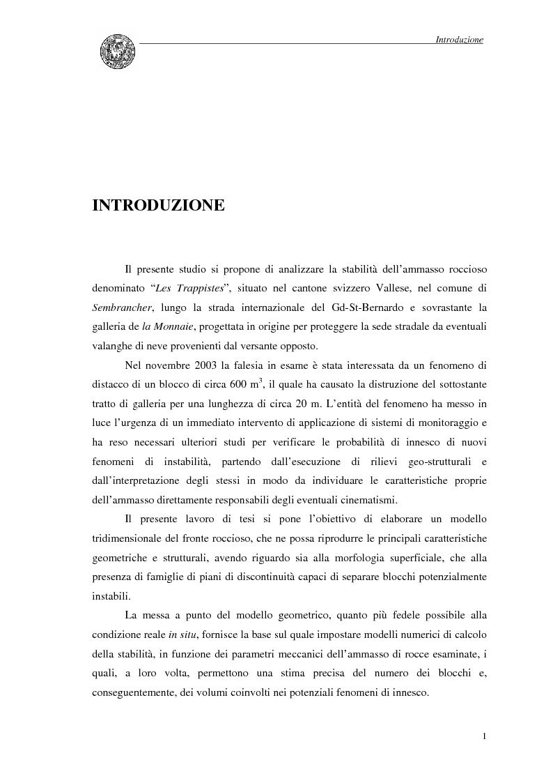 Anteprima della tesi: Studio per l'analisi di stabilità di versanti rocciosi: il caso di Les Trappistes in Svizzera, Pagina 1