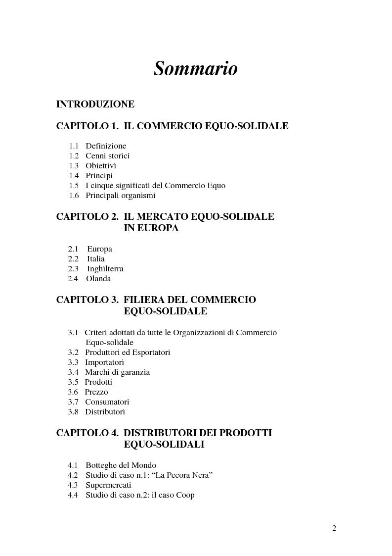Indice della tesi: Le strategie di marketing nel commercio equo-solidale - I casi Esselunga e Coop, Pagina 1