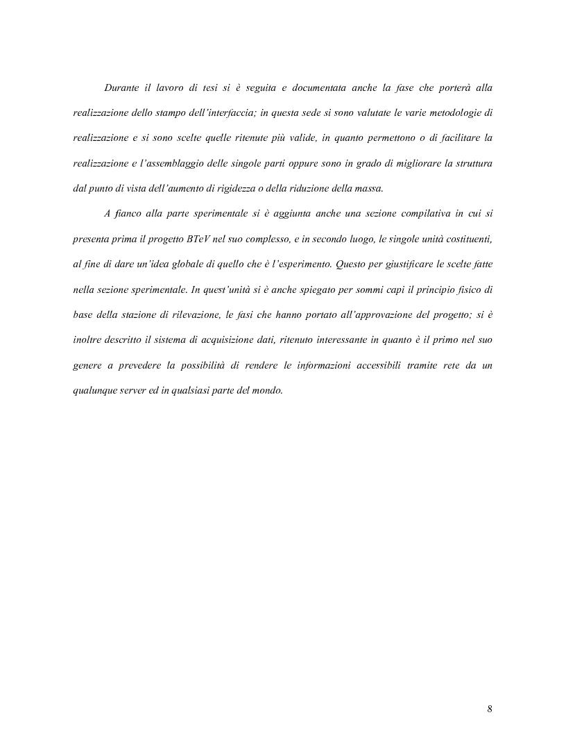 Anteprima della tesi: Scelta dei materiali ed analisi strutturale per supporti di rivelatori di particelle dell'esperimento BTeV a FermiLAB (U.S.A.), Pagina 3