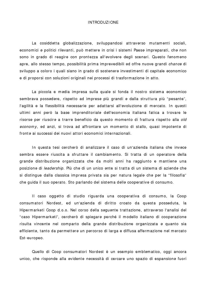 Anteprima della tesi: Il modello cooperativo italiano della GDO di fronte all'internazionalizzazione dei mercati e all'allargamento dell'Unione Europea, il caso di Coop consumatori Nordest., Pagina 1