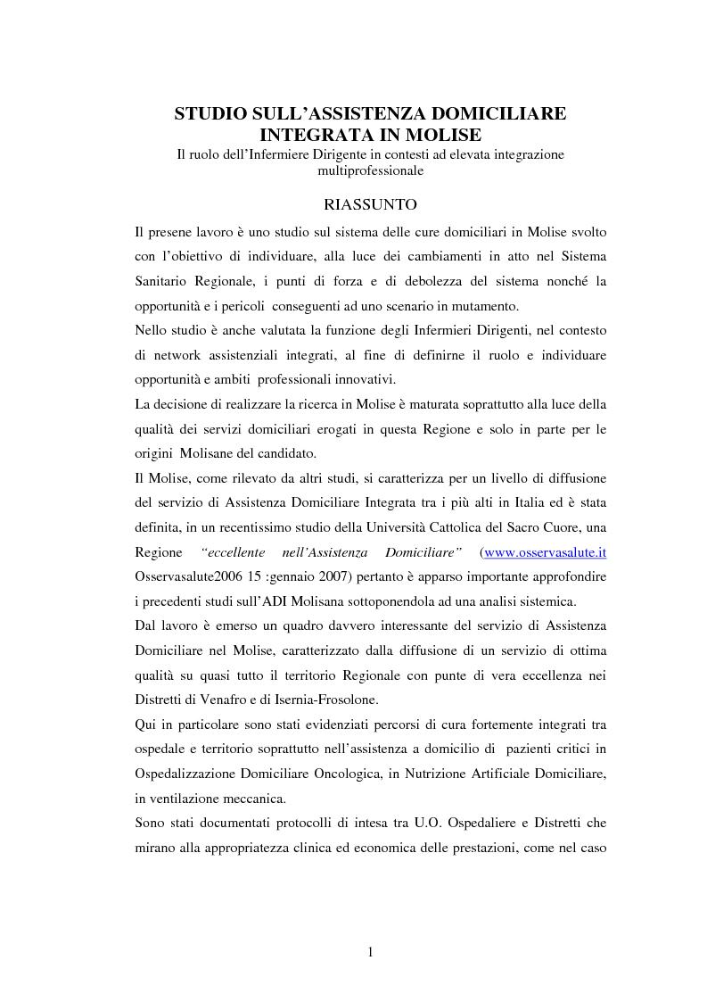Studio sull'assitenza domiciliare integrata in Molise - Il ruolo dell'infermiere dirigente in contesti ad elevata integr...