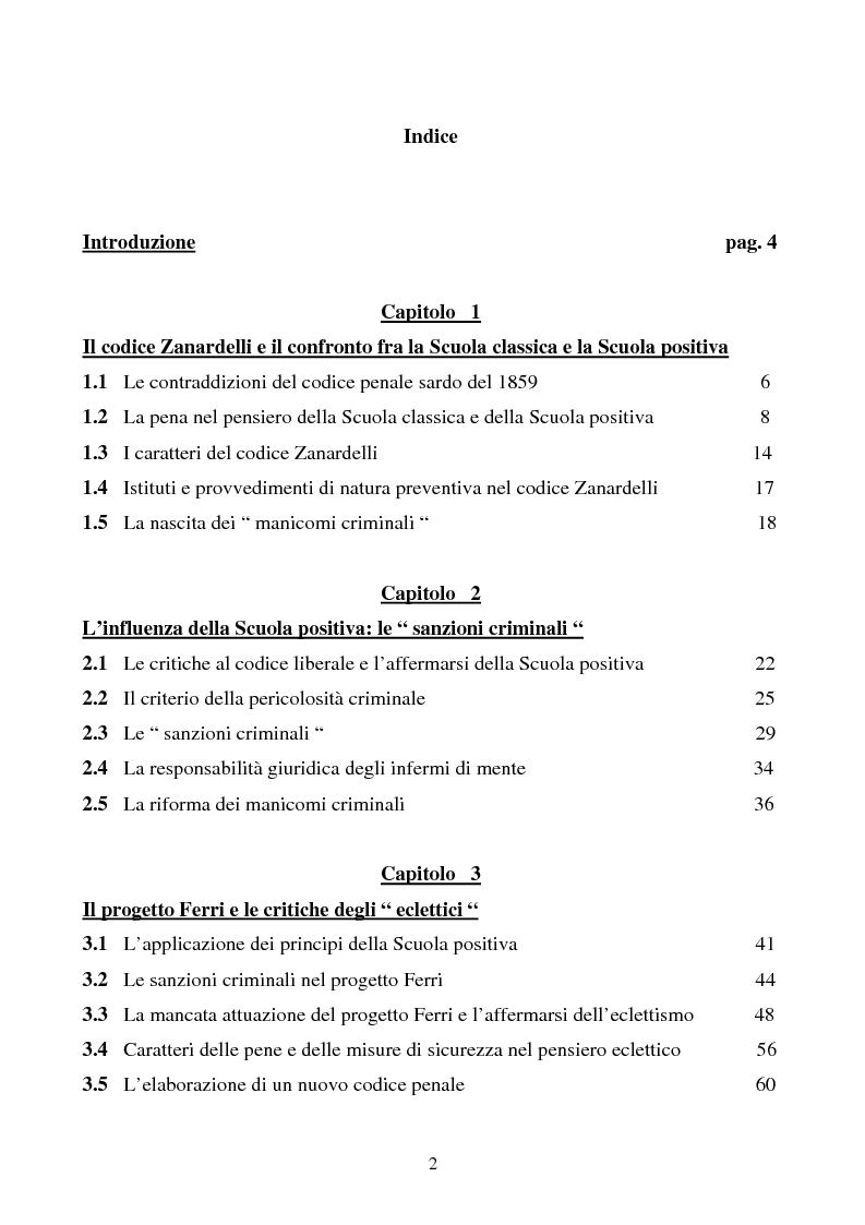 Indice della tesi: Misure di sicurezza e doppio binario: dall'equivoco storico del codice liberale al sistema del codice Rocco. Il paradigma dei manicomi ''criminali''., Pagina 1
