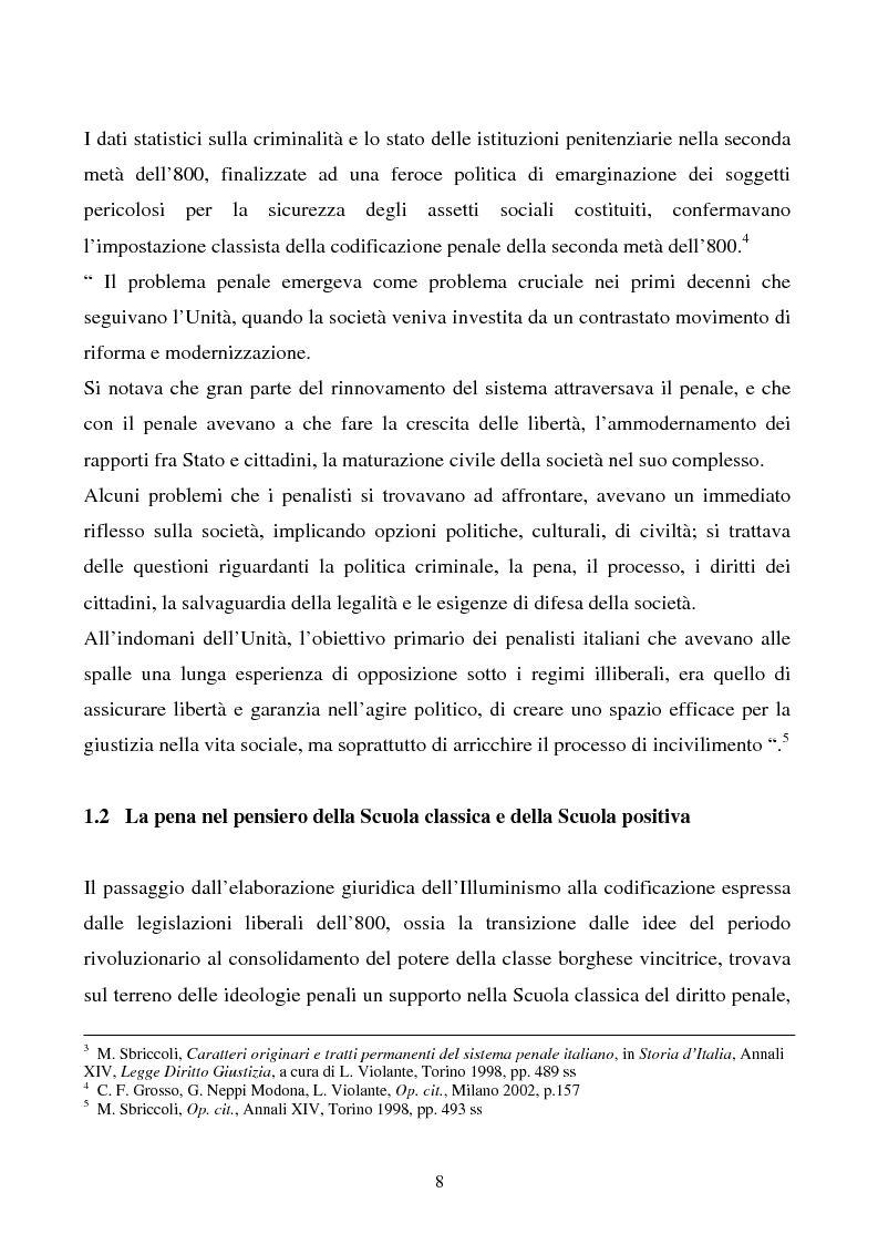 Anteprima della tesi: Misure di sicurezza e doppio binario: dall'equivoco storico del codice liberale al sistema del codice Rocco. Il paradigma dei manicomi ''criminali''., Pagina 3