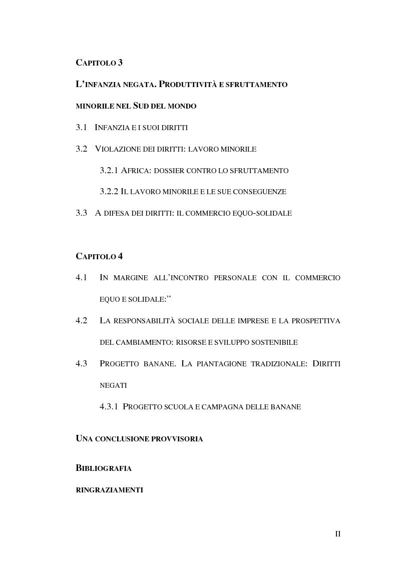 Indice della tesi: Geografia dei rapporti Nord-Sud. Il commercio equo-solidale per la difesa dei diritti d'infanzia., Pagina 2