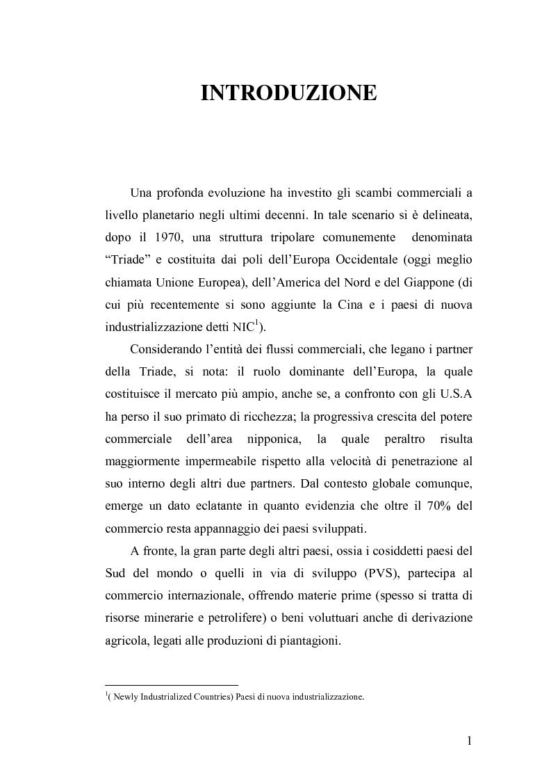 Anteprima della tesi: Geografia dei rapporti Nord-Sud. Il commercio equo-solidale per la difesa dei diritti d'infanzia., Pagina 1