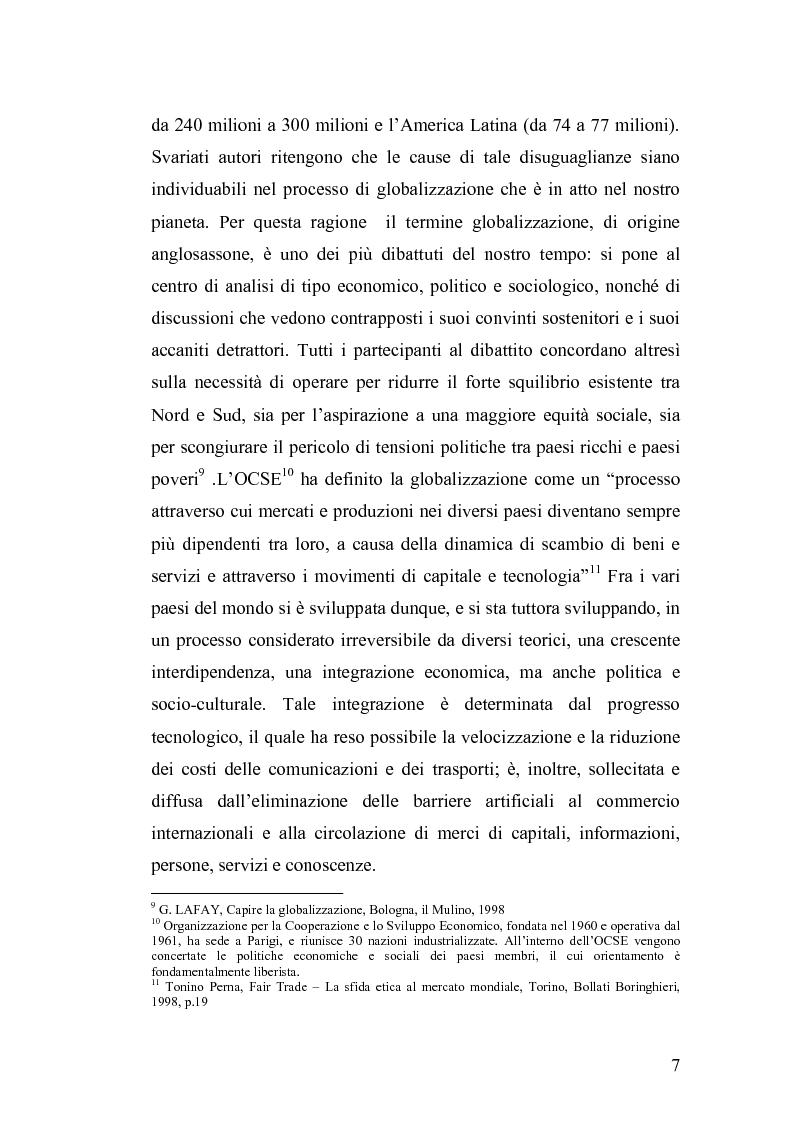 Anteprima della tesi: Geografia dei rapporti Nord-Sud. Il commercio equo-solidale per la difesa dei diritti d'infanzia., Pagina 7