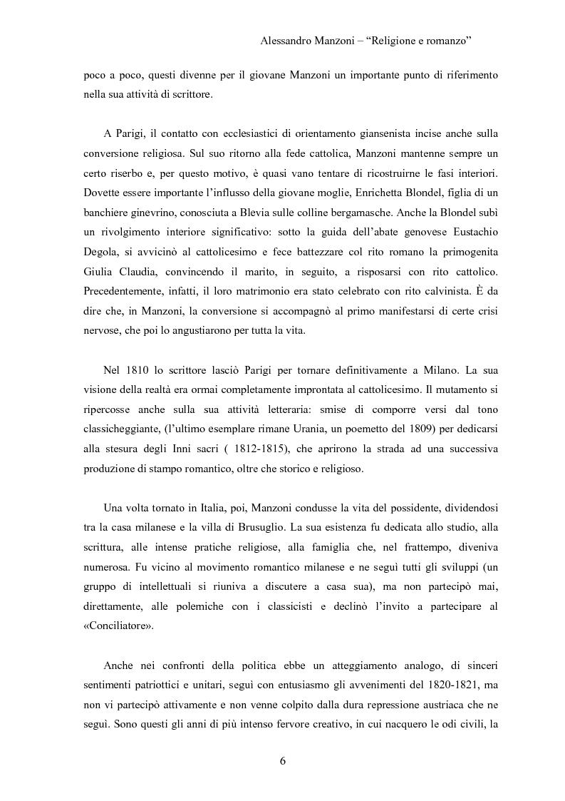 Anteprima della tesi: Alessandro Manzoni religione e Romanzo, Pagina 4