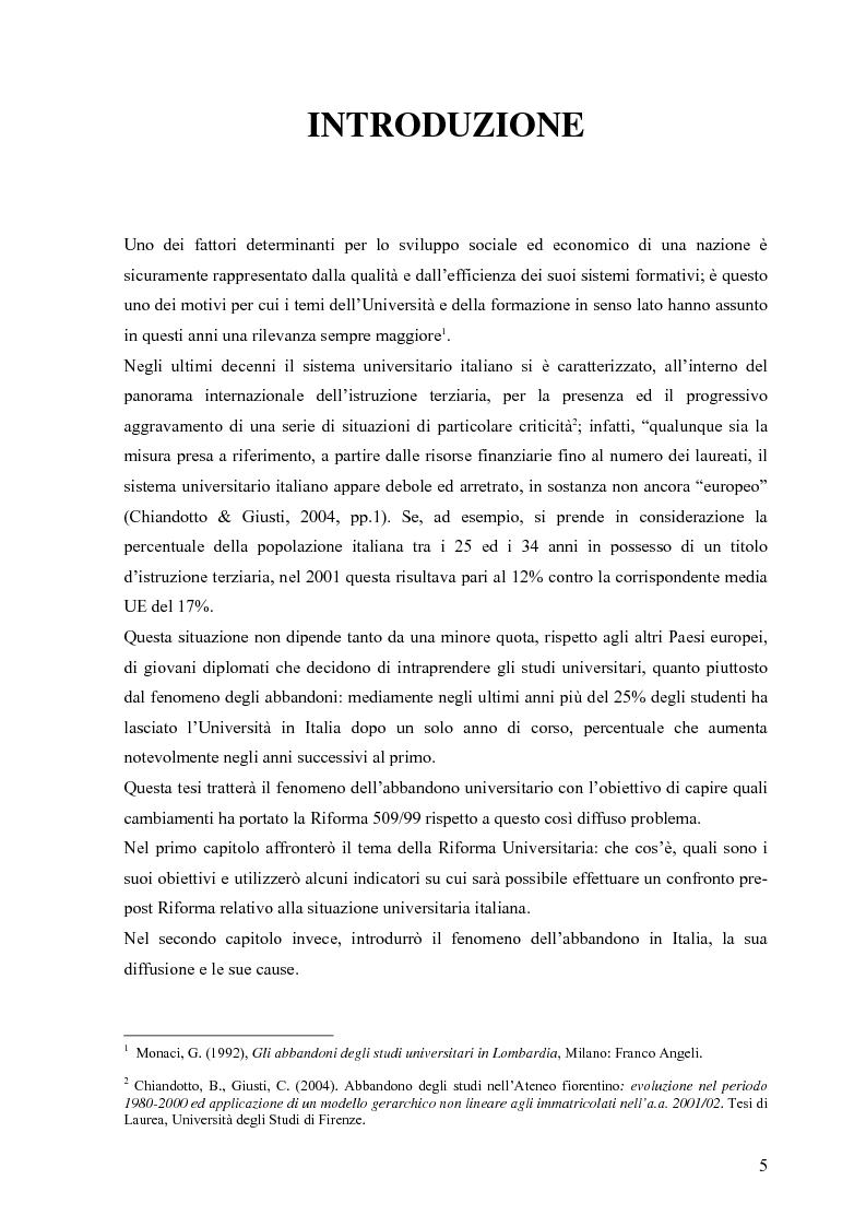 Il fenomeno del drop-out nell'Universit� italiana: quali cambiamenti dopo la Riforma Universitaria 509/99? - Tesi di Lau...