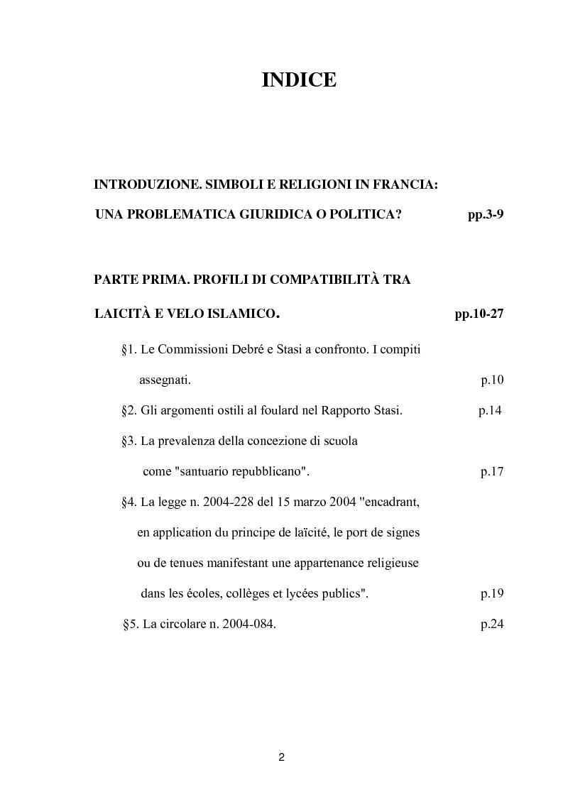 Indice della tesi: Simboli e religioni: l'esperienza francese, Pagina 1