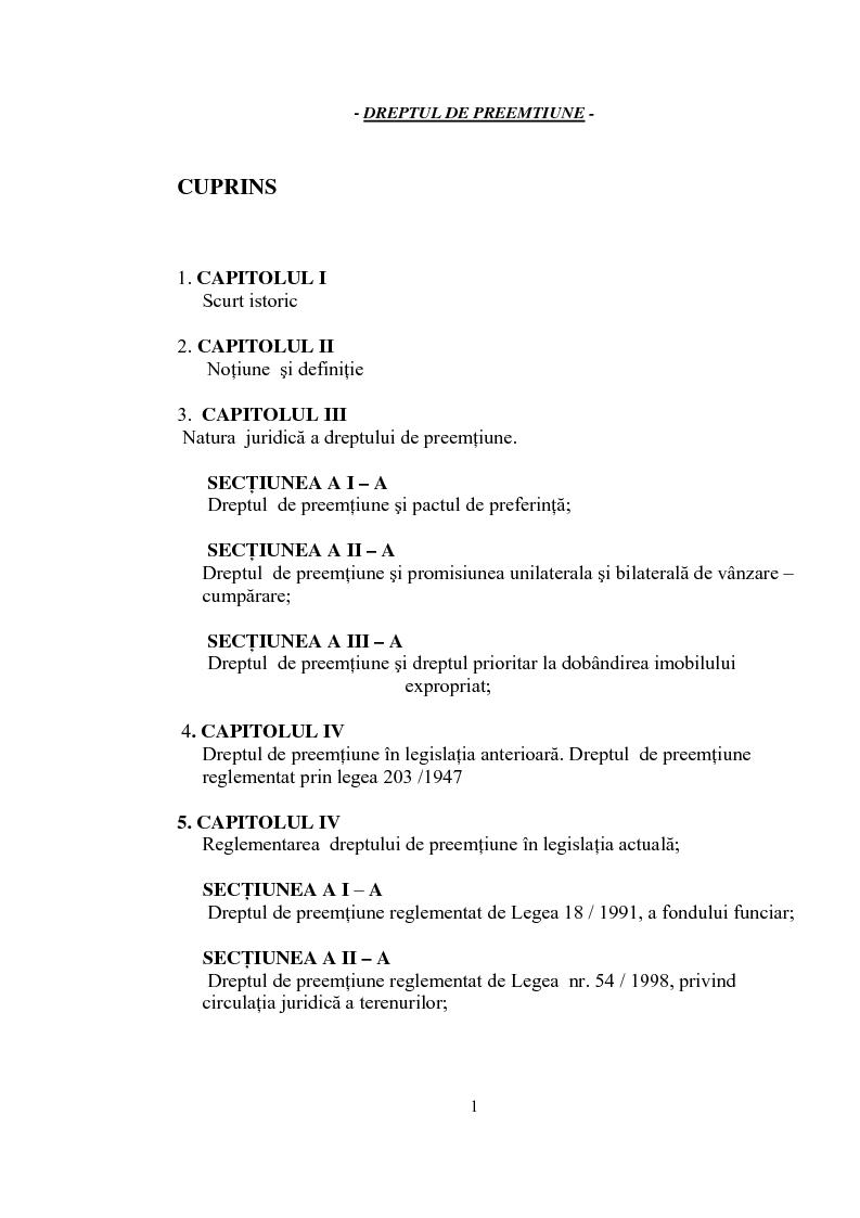 Indice della tesi: Dreptul de preemptiune, Pagina 1