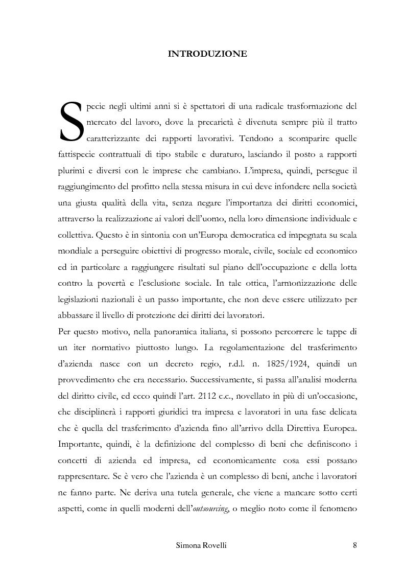 I rapporti di lavoro nel trasferimento d'azienda negli ordinamenti italiano e francese - Tesi di Laurea
