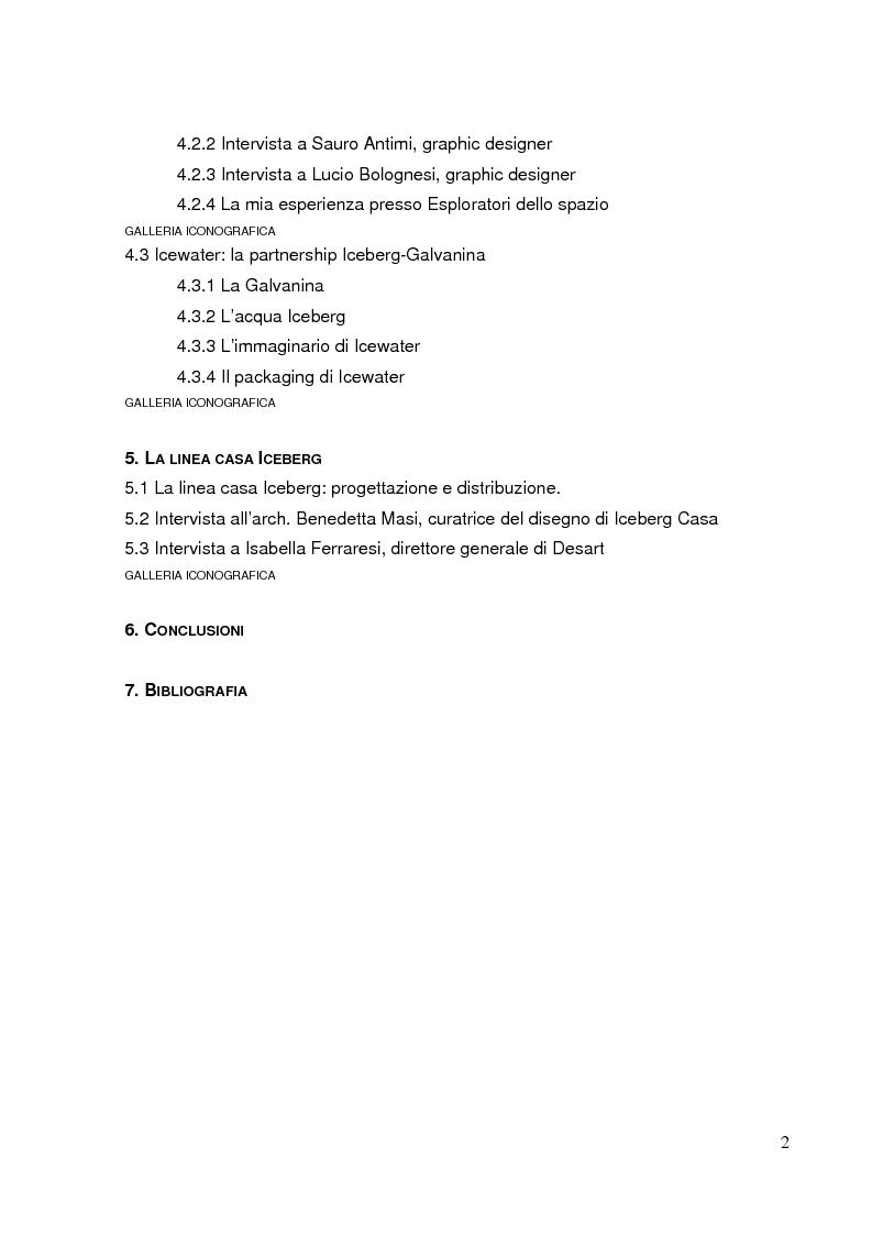 Indice della tesi: Il total living di Iceberg. Esplorazioni dello spazio della moda, Pagina 2