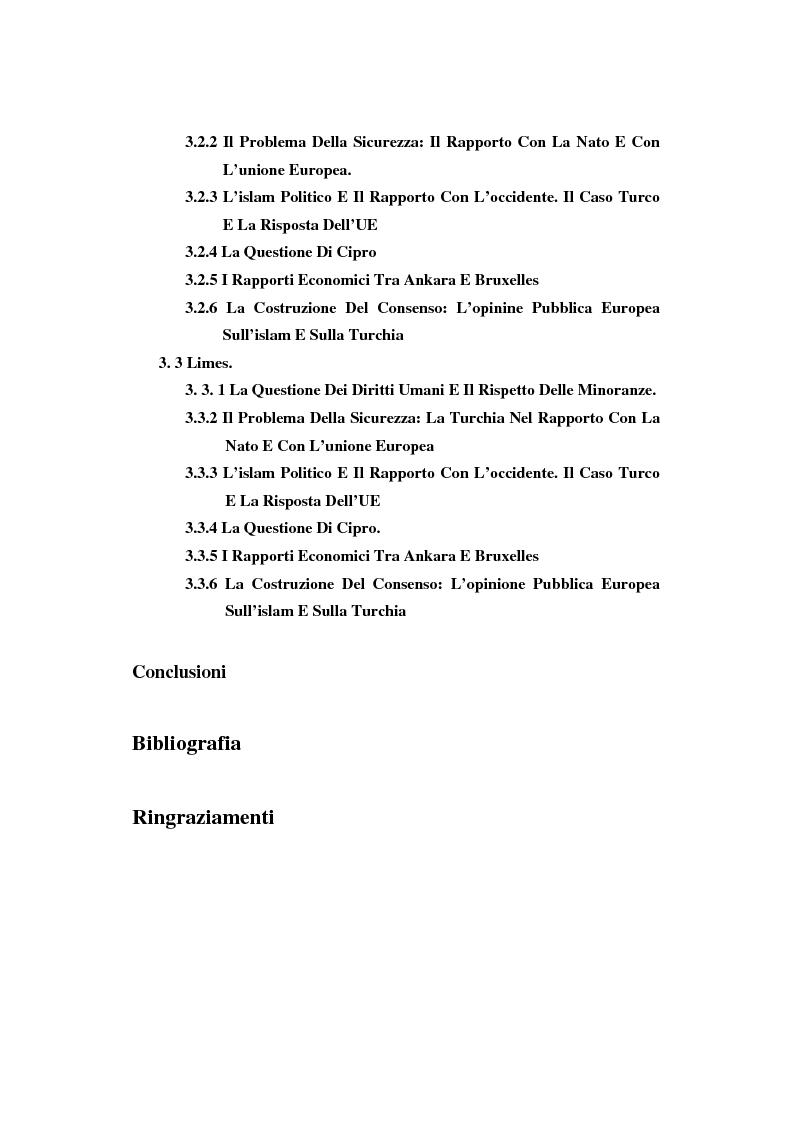 Indice della tesi: La possibile adesione della Turchia all'UE: i contributi di ''Limes'' e ''Aspenia'' a confronto, Pagina 2